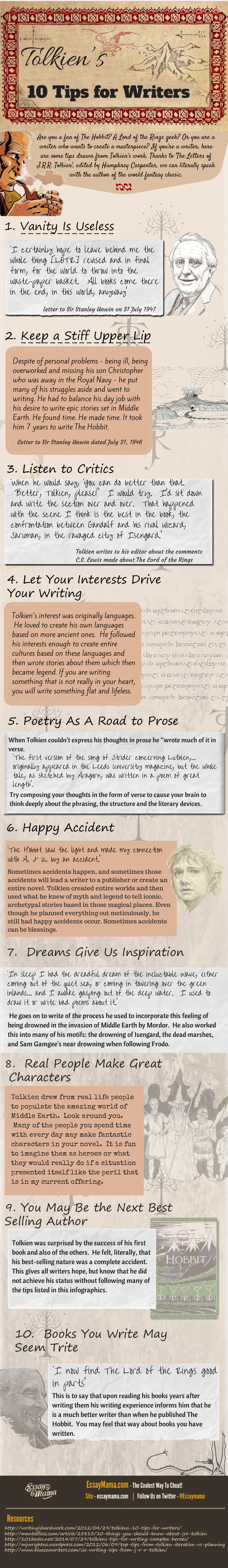 J.R.R. Tolkien's Writing Tips (Infographic)